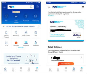 Paytm home screen (left) and Paytm Payments Bank page